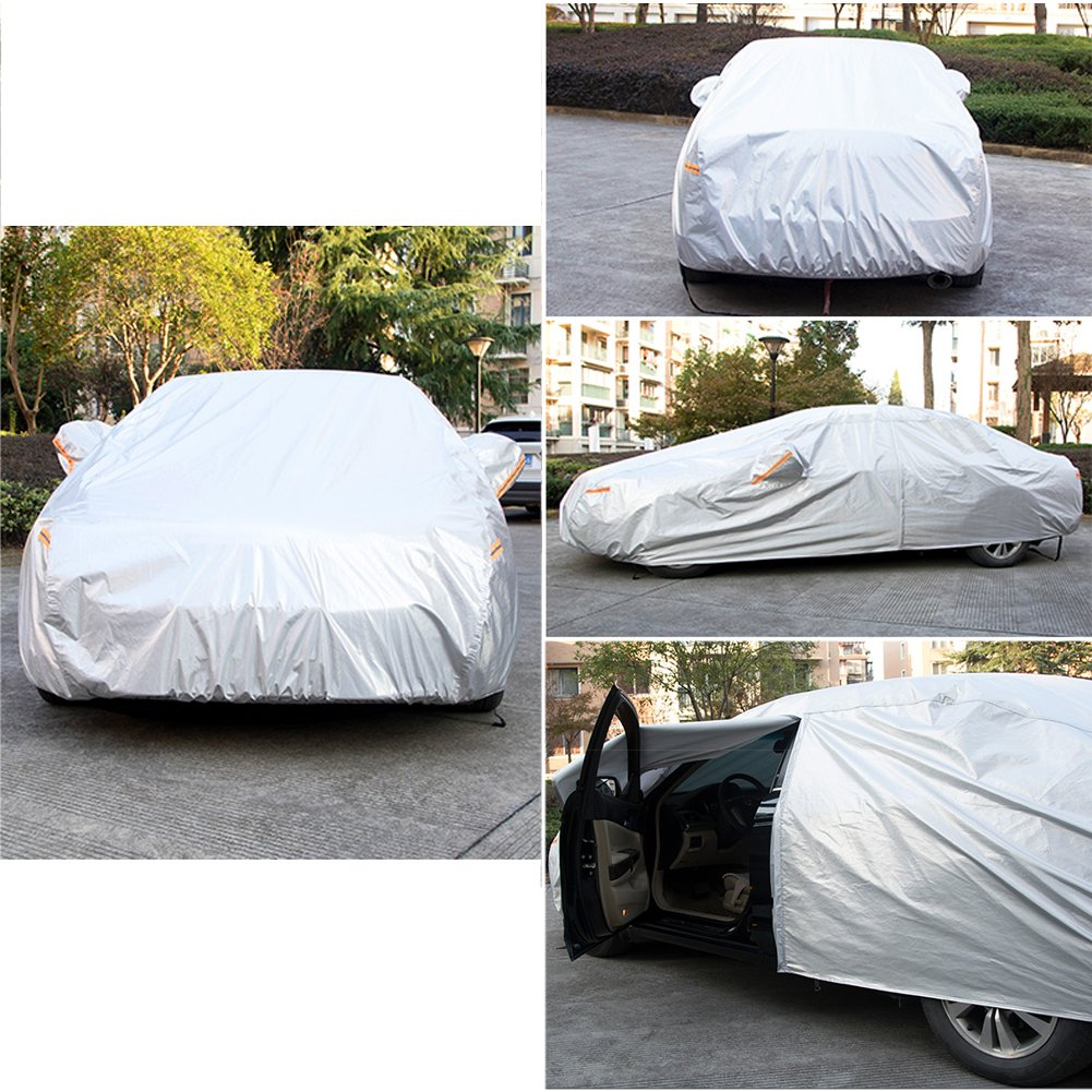 Up to 173 Kayme Four Layers Waterproof All Weather Car Covers with Cotton Zipper Sun Uv Rain Protection for Automobiles Indoor Outdoor Fit Hatchback 2L