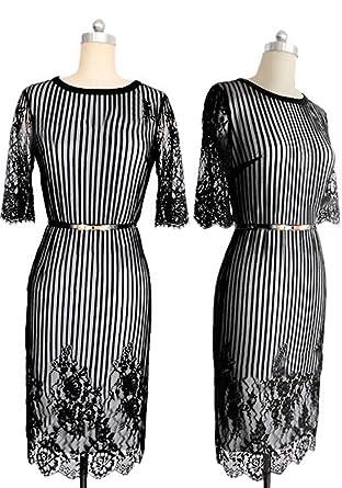 Zumeet Women Stripe Lace Embroided Pencil Skirt Dress Black at ... 95acd8626