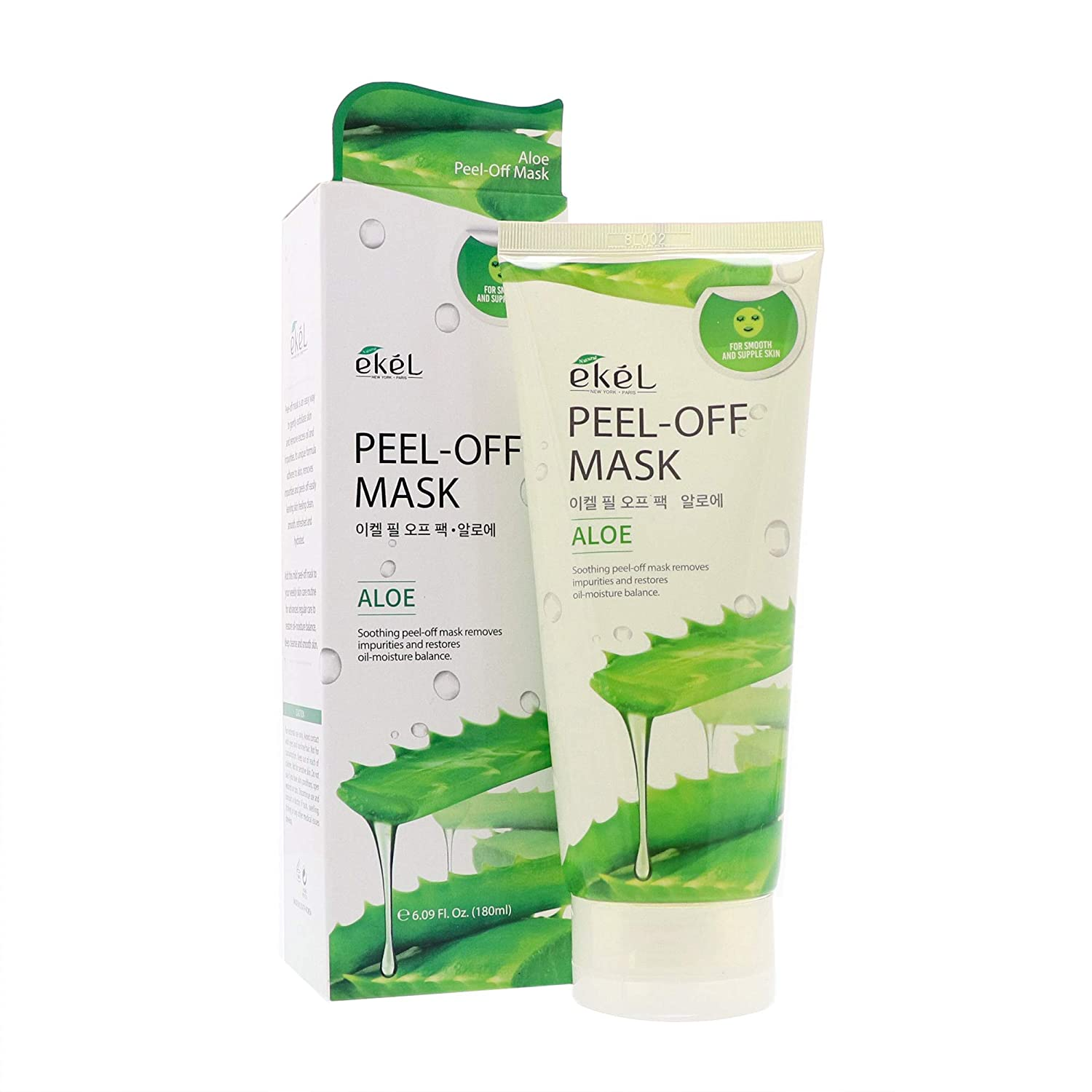Ekel Peel Off Mask Aloe - Soothing Mask Packed with Vitamins, Choline, Salicylic Acid and Folic Acid - Removes Impurities and Restores Oil-Moisture Balance Leaving Smooth and Supple Skin 6.09 oz