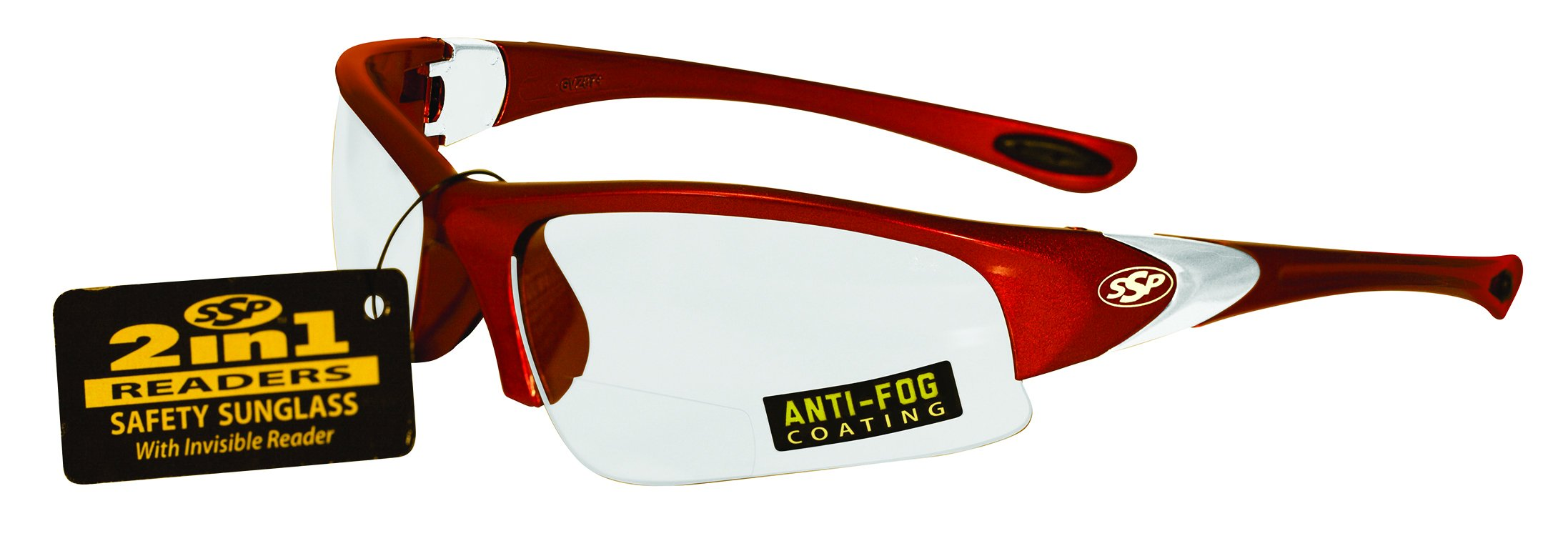 SSP Eyewear 2.00 Bifocal/Reader Safety Glasses with Red Frames and Clear Anti-Fog Lenses, ENTIAT 2.0 RED CL A/F by SSP Eyewear