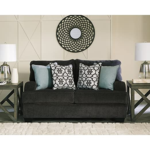 Magnificent Benchcraft Charenton Contemporary Upholstered Loveseat Charcoal Grey Creativecarmelina Interior Chair Design Creativecarmelinacom