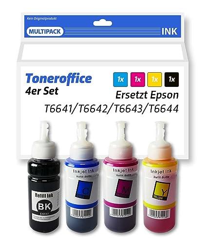 4 bajo Juego de tinta compatible equivalente a Epson T de 6641 T ...