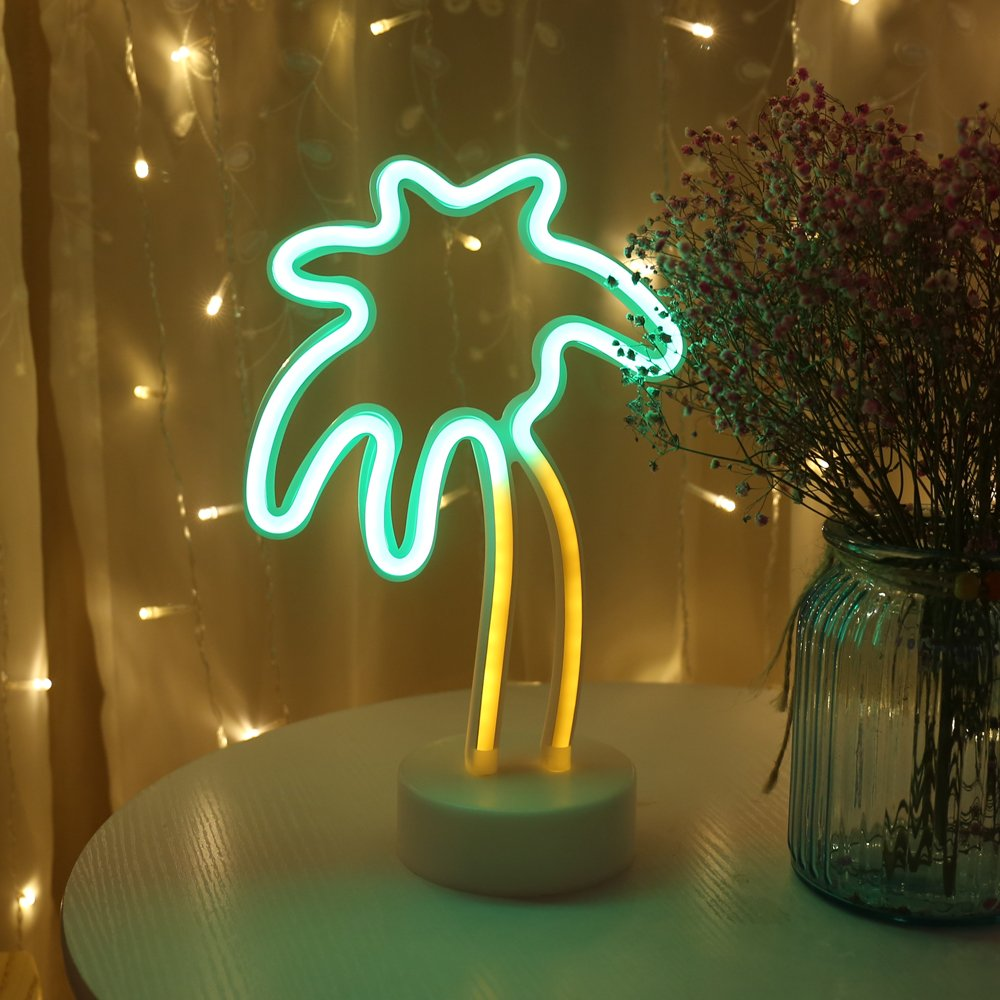 Palm Tree LED neon Sign Night Light with Base Coconut Tree Marquee Night lamp Table Light Best Gift for Family Birthday Holiday Party by Obrecis