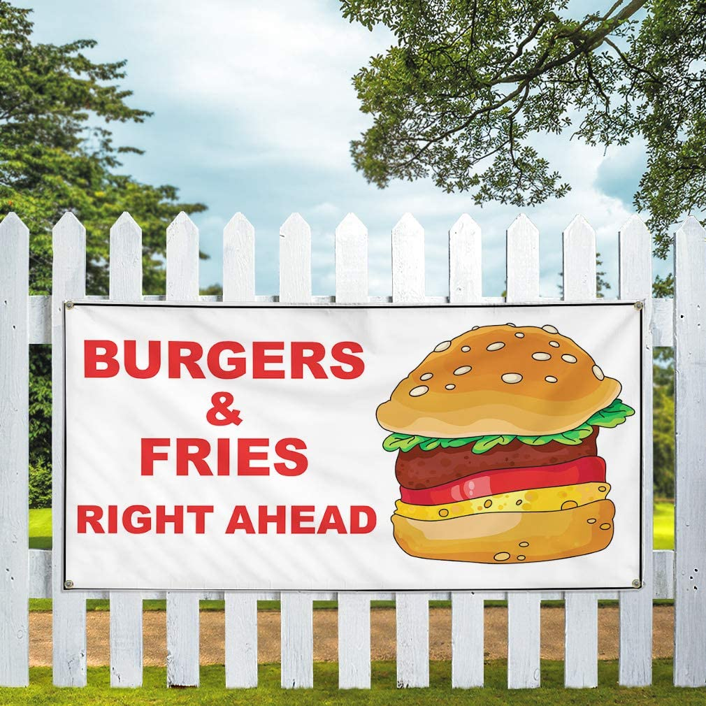 8 Grommets Multiple Sizes Available Vinyl Banner Sign Burger and Fries Right Ahead White Red Marketing Advertising White 44inx110in One Banner