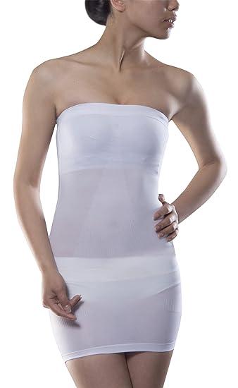 2cb377eedf9 White Strapless Dress Slip Sexy Shaper Control Seamless Tube Comfort ...