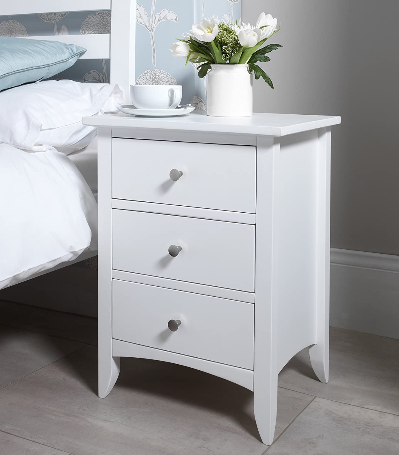 Edward Hopper White Bedside Table With  Drawers Metal Runners Dovetail Joints Fully Assembled Amazon Co Uk Kitchen Home