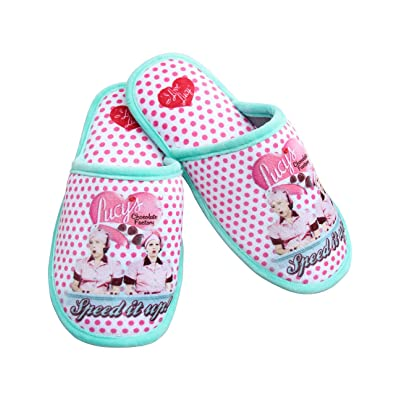 I Love Lucy Chocolate Factory Polka-Dot Scuff Slippers w/Non-Skid Soles   Slippers