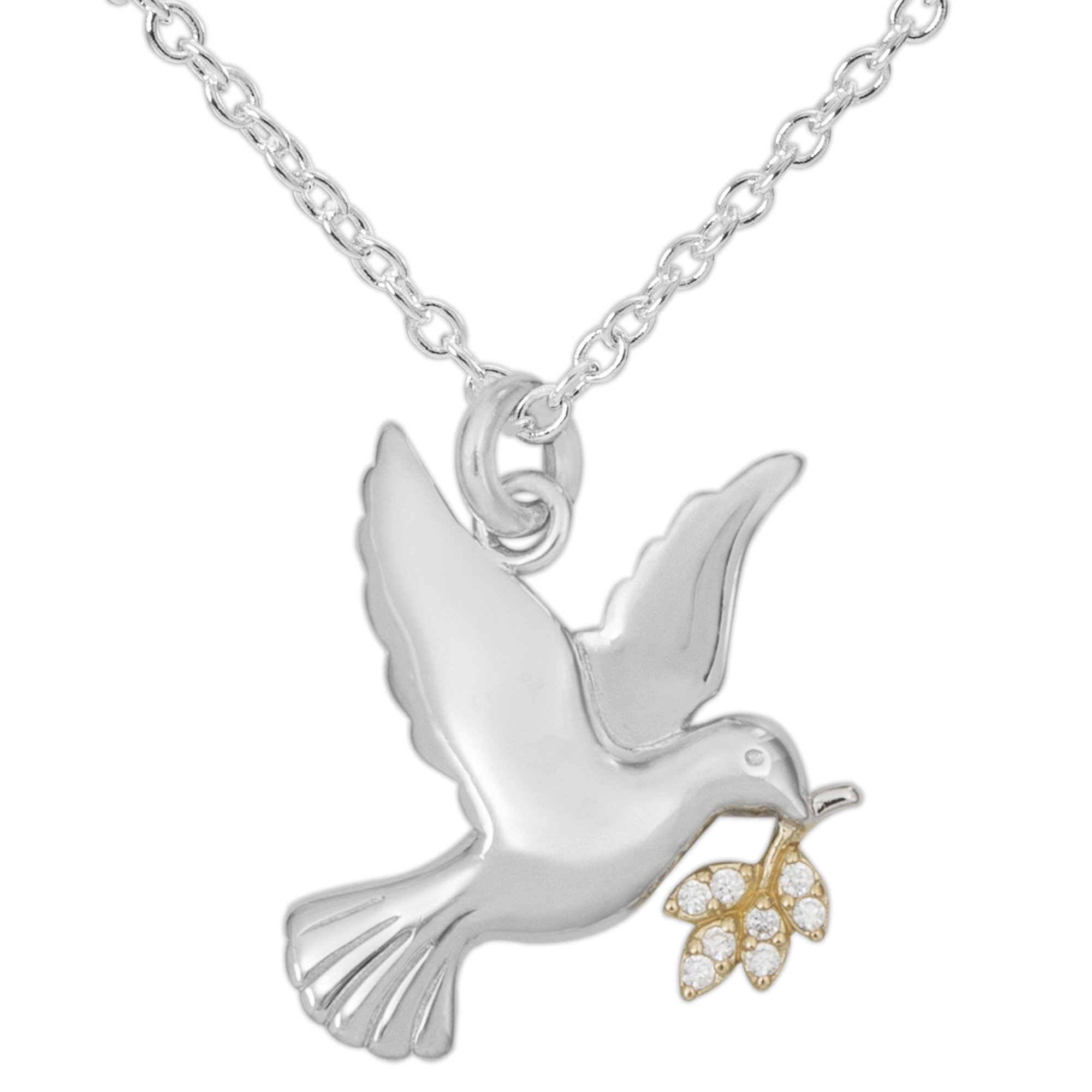 Hallmark Jewelry Women's Sterling Silver Dove with Clear Cubic Zirconia Leaf Pendant Necklace, 18''