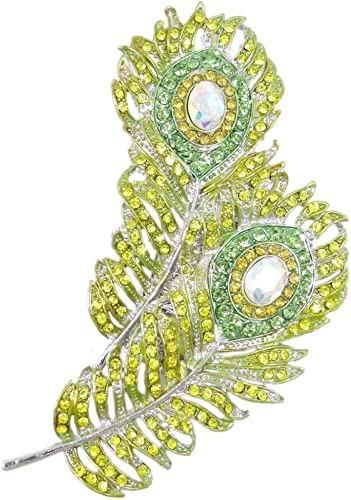 Sparkling Crystal Peacock Silver Tone Corsage Brooch Pin Fashion Jewellery