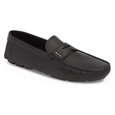Prada Men's Saffiano Logo Plaque Driver, Black | Loafers & Slip-Ons