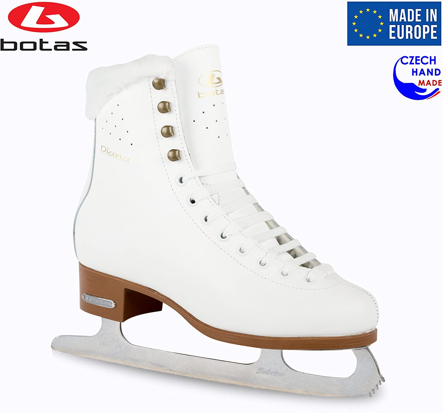 Botas - Model: Diana/Made in Europe (Czech Republic) / Figure Ice Skates for Women, Girls, Kids/Sabrina Blades/White Color