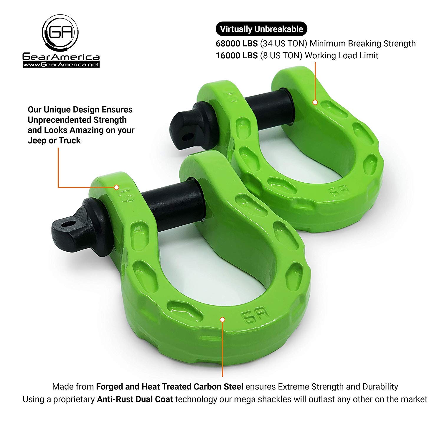 34 US Ton GearAmerica Mega Duty D Ring Shackles Green 3//4 Shackle 7//8 Pin 2 PK Washers| Securely Connect Tow Strap or Winch Rope to Jeep for Off-Road 4x4 Recovery Strength | 68000 lbs