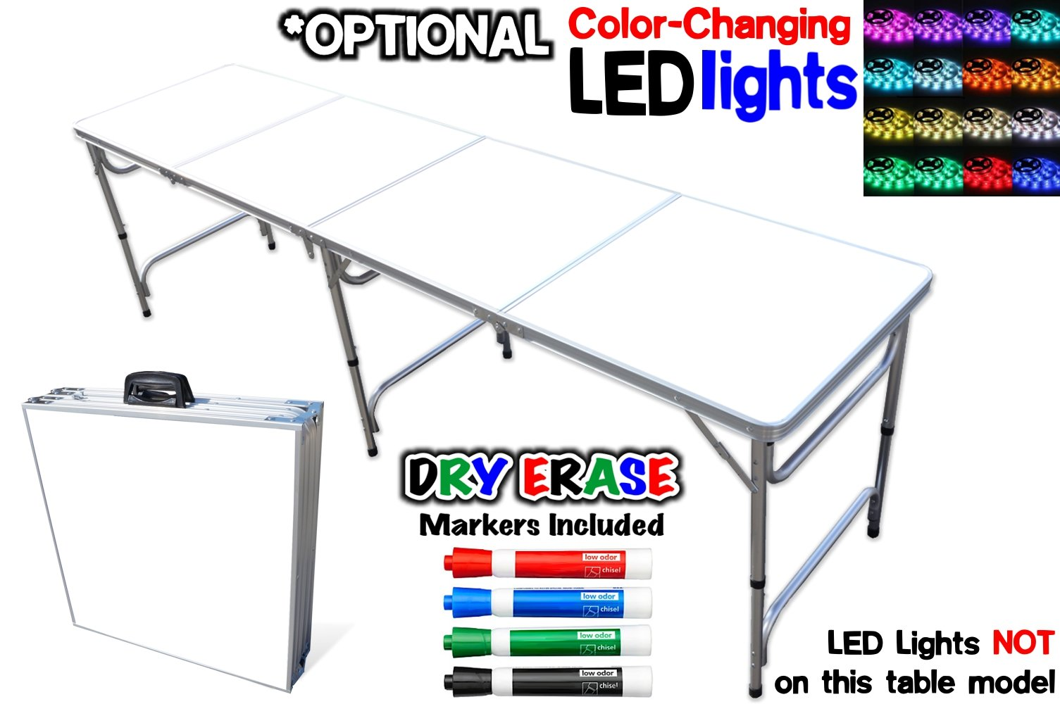 PartyPongTables.com Portable Folding Table w/Dry Erase Surface & Markers for Art, Classroom, Parties, and More 4 ft or 8 ft by PartyPongTables.com