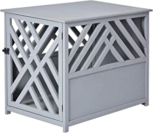 PawHut Natural Diagonal Dog Cage/Crate for Indoor Use with a Natural Fir Wood Build & Unique Slant Aesthetic Design