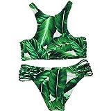 Cupshe Fashion Women's Tropical Leaves Printing Tank Padding Bikini Set, Green