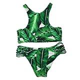 Amazon Price History for:Cupshe Fashion Women's Tropical Leaves Printing Tank Padding Bikini Set, Green