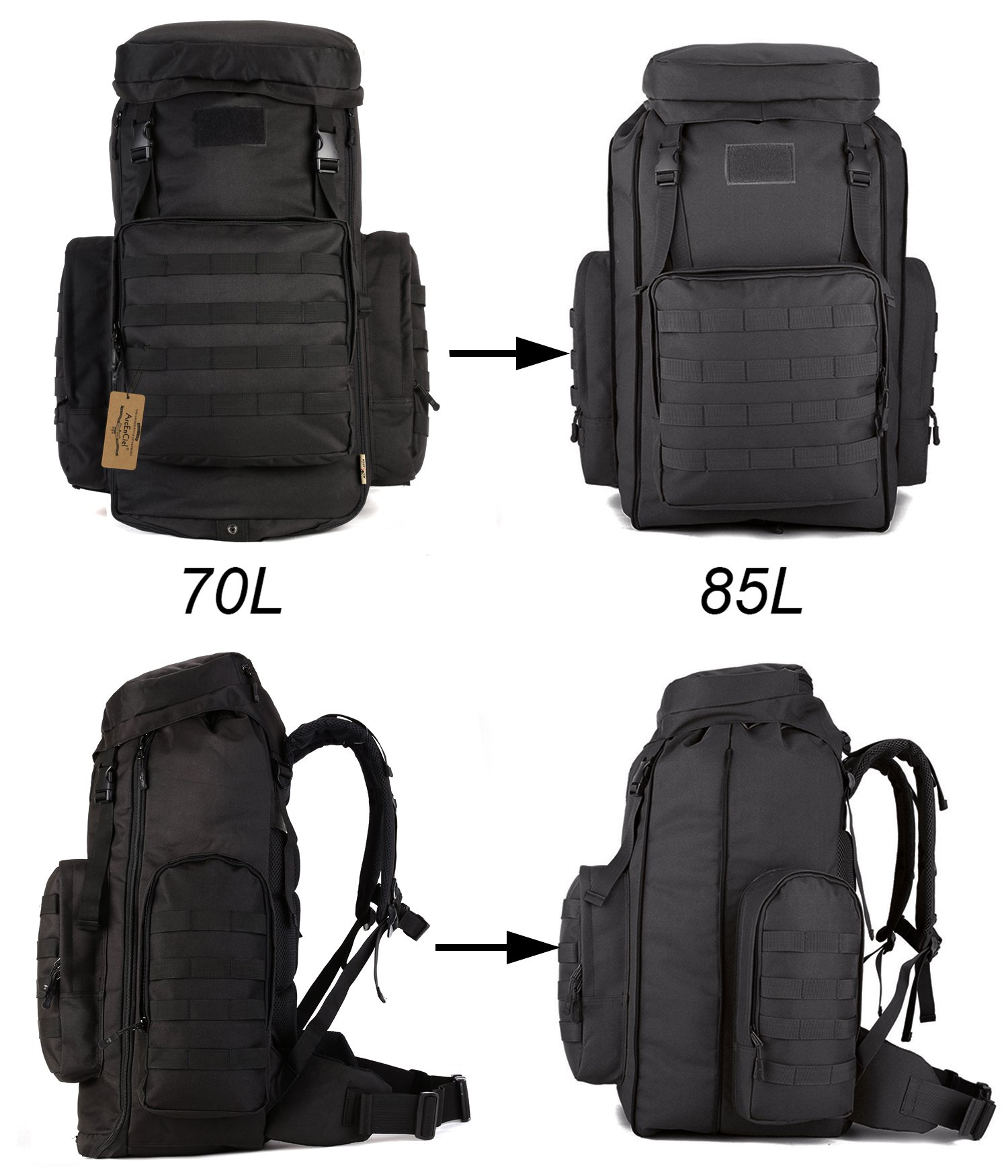 ArcEnCiel 70-85L Large Capacity Tactical Travel Backpack MOLLE Rucksack Outdoor Travel Bag for Travelling Trekking Camping Hiking Hunting -Rain Cover Included (Black) by ArcEnCiel (Image #8)