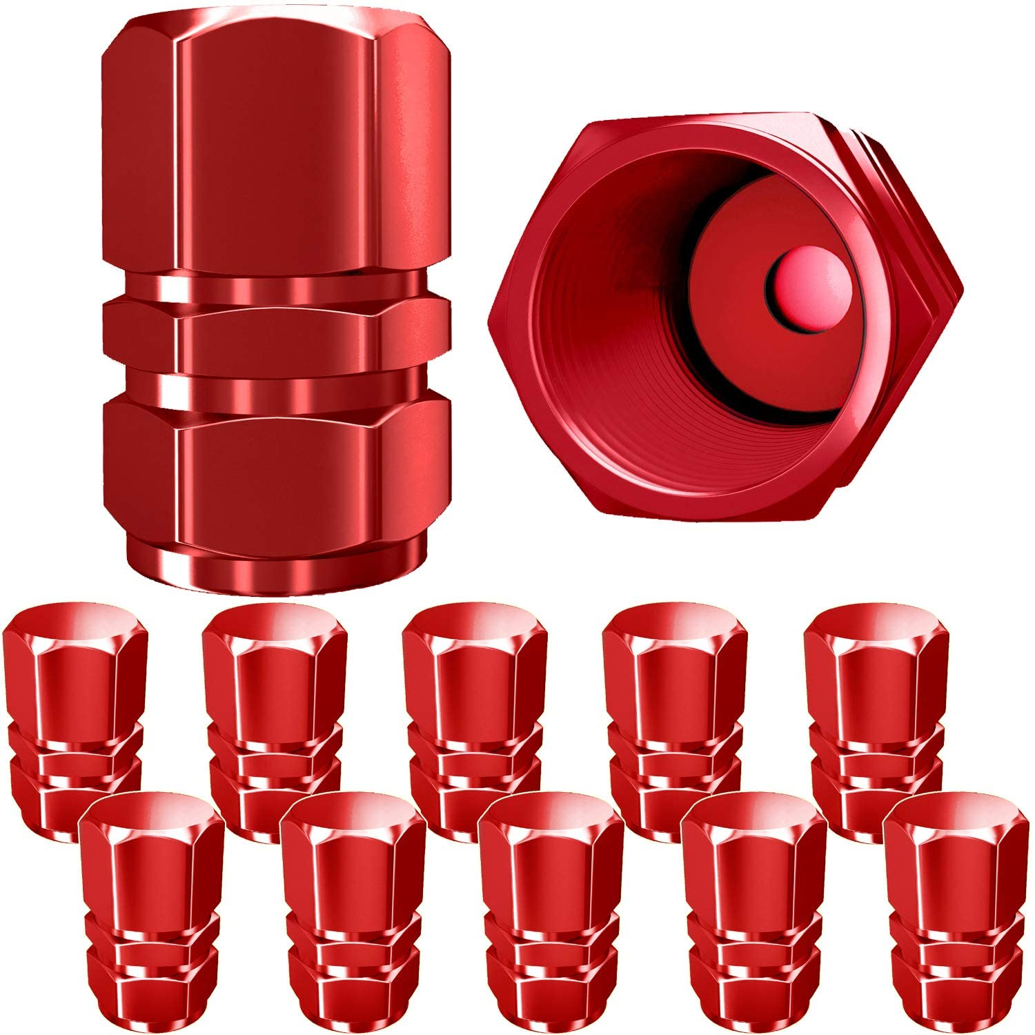 Cuque Tire Valve Stem Red 4 Pcs Universal Aluminum Alloy Tyre Valve Stems with Dust Cover for Bicycle Bike