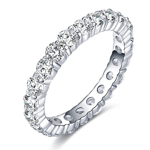 UMODE 925 Sterling Silver Eternity Ring All Around Cubic Zirconia Cz Band for Women Size 7 PXIZpa
