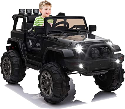 Amazon Com Ottaro Kids Ride On Truck Children Electric Ride On Car W Parent Remote Control 12v Battery Powered Driving Trucks Cars For Boys And Girls Spring Suspension Mp3 Player Black Toys Games