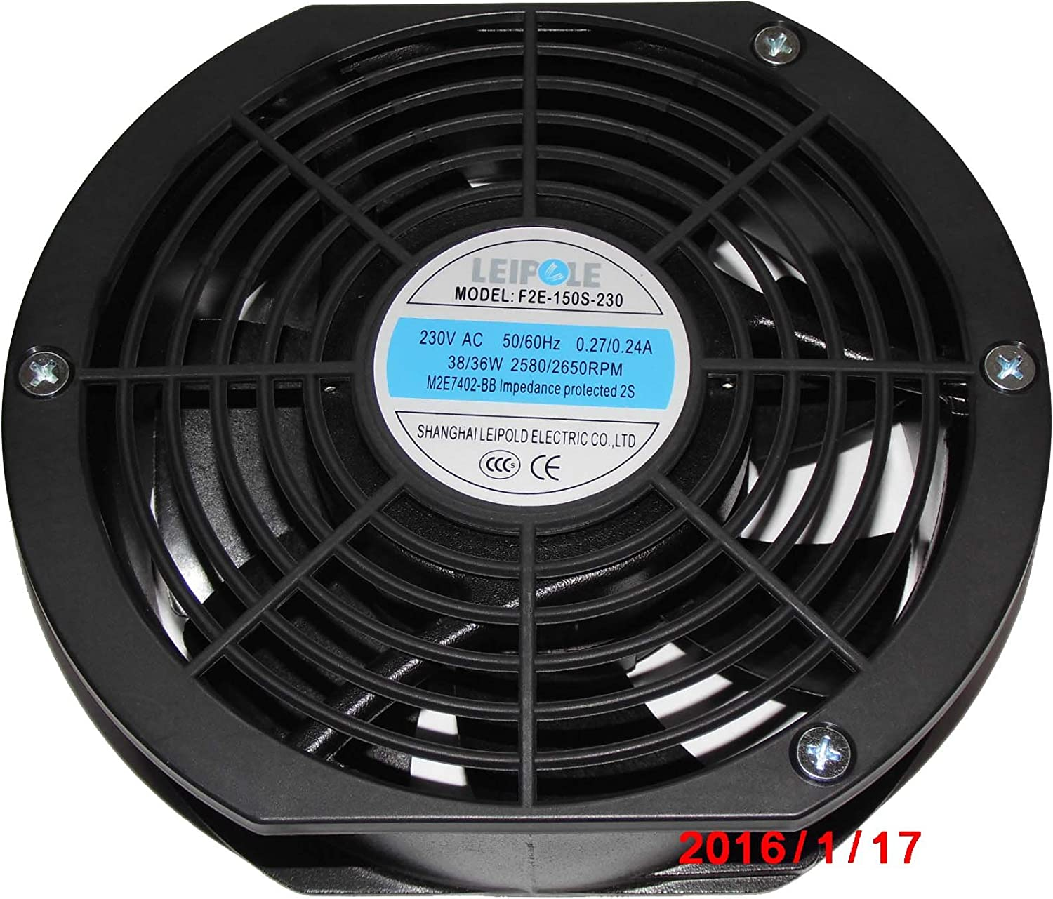 LEIPOLD 172mm F2E-150S-230 230V 50//60Hz 0.27//0.24A 38//36W 2580//2650RPM M2E7402-BB Spares for Continuous Emission Monitoring System Fan