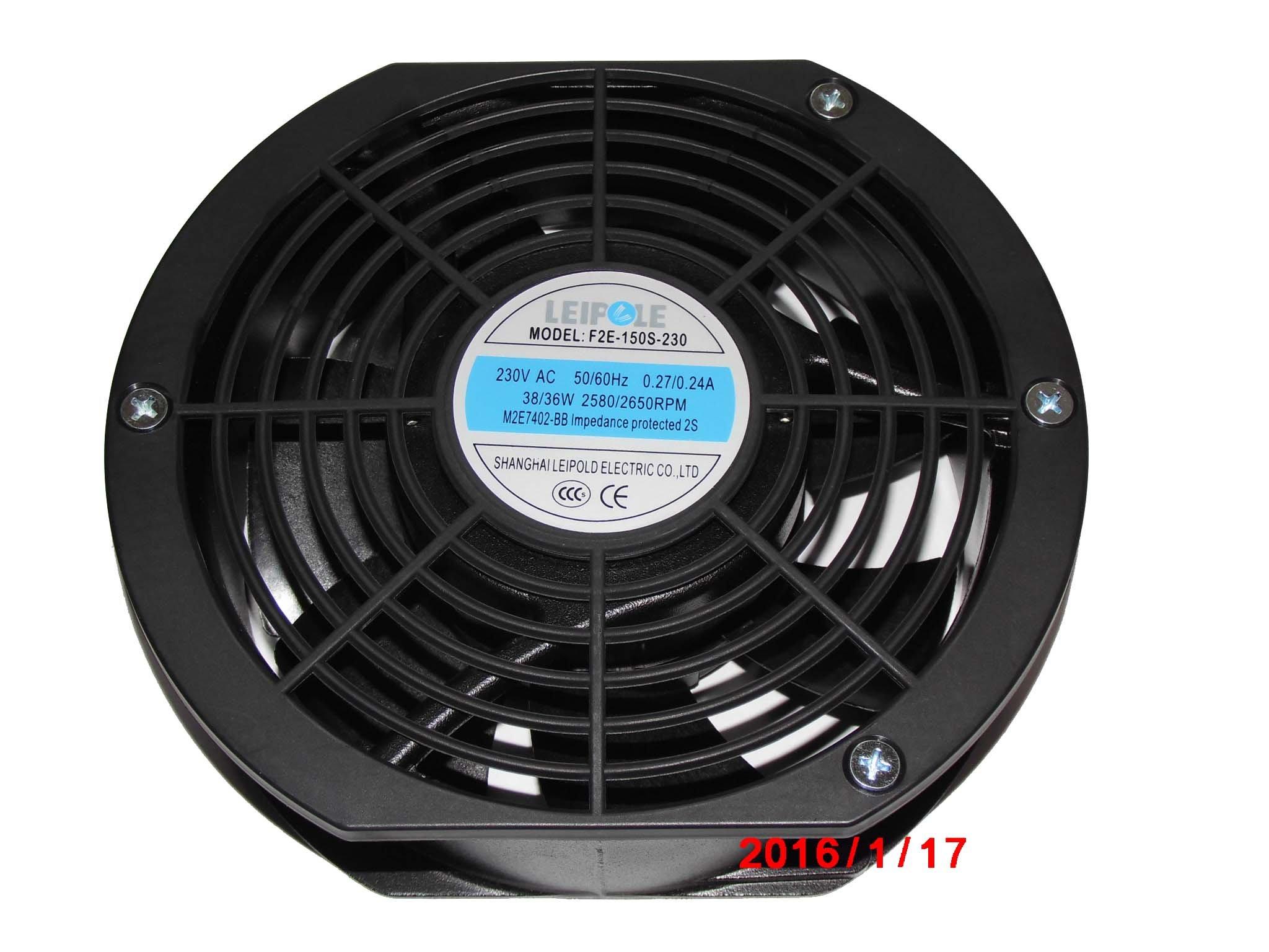 LEIPOLD 172mm F2E-150S-230 230V 50/60Hz 0.27/0.24A 38/36W 2580/2650RPM M2E7402-BB Industrial fan