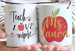 Personalized Teacher Name Coffee Mug Teacher Love Inspire Mugs Red Apple Mug Teacher Appreciation Gifts Teacher Gifts Teachers Professor Gifts Custom Color Change Mug Unique Gifts for Teacher's Day