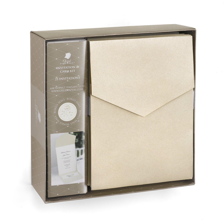 Wedding pocket invitation kits amazon hortense b hewitt wedding accessories champagne shimmer invitation kit stopboris Images