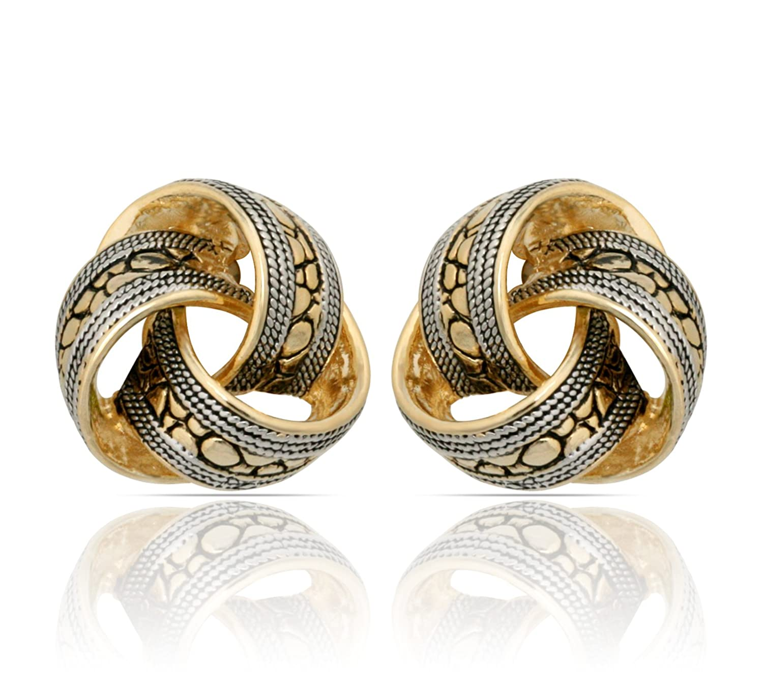 JanKuo Jewelry Two Tone Bali Antique Style Knot Clip On Earrings B0087G738G_US