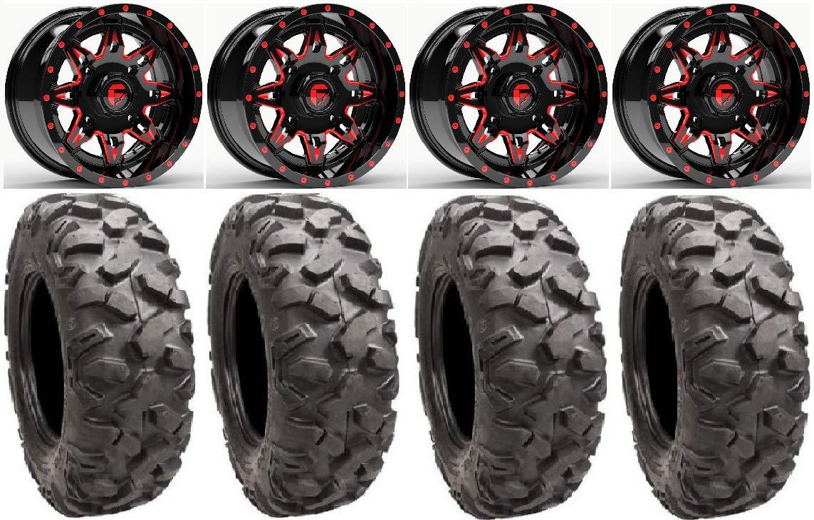 Bundle - 9 Items: Fuel Lethal Red 15' Wheels 34' Roctane XD Tires [4x137 Bolt Pattern 12mmx1.25 Lug Kit] Multiple