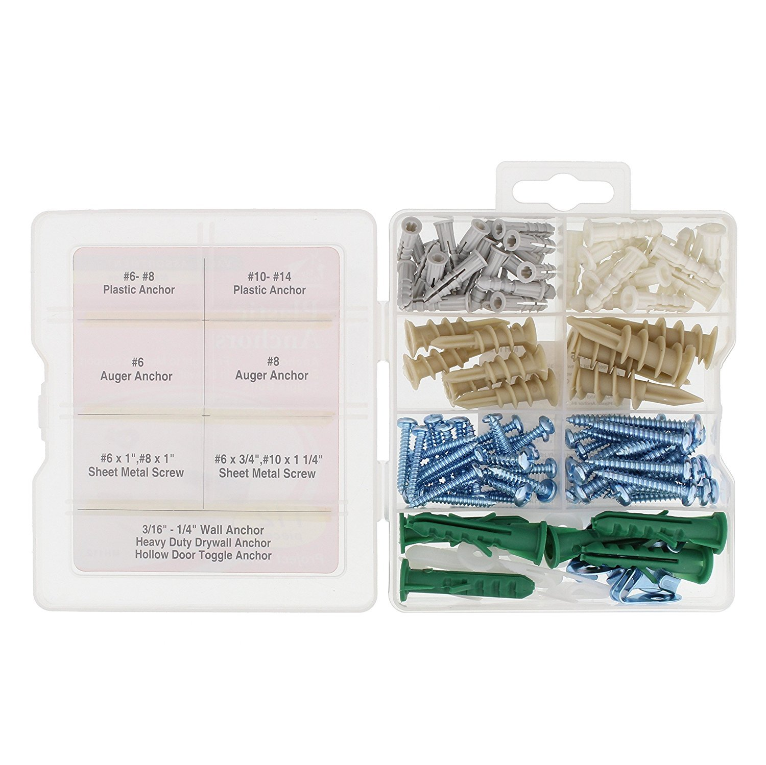 Screws Wall Anchor Hooks MG-S Drywall and Masonry Anchor Assortment Kit 112 Pieces and Hollow-door Toggle Anchors