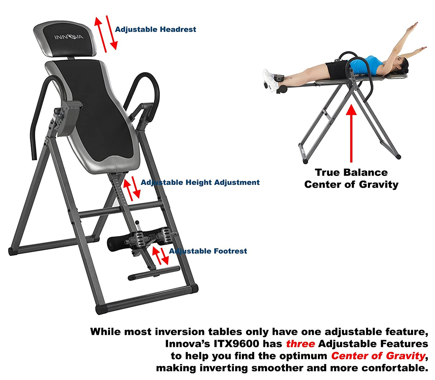 0be72d08f7 Amazon.com   Innova ITX9600 Heavy Duty Inversion Table with Adjustable  Headrest   Protective Cover   Inversion Equipment   Sports   Outdoors