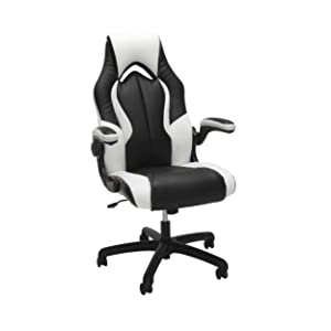 OFM Essentials Collection High-Back Racing Style Bonded Leather Gaming Chair, in White , White, White