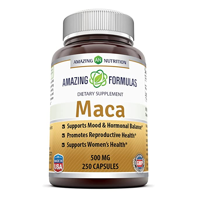 Amazon.com: Amazing Nutrition Maca Root Supplement * 500mg Capsules With Pure Maca (Lepidium Meyenii) Root Extract * Supports Reproductive Health, ...
