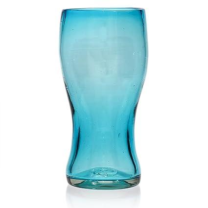 Vaso Cervecero (Pinta) Artesanal – Vidrio Reciclado – Turquesa - Un Solo Vaso