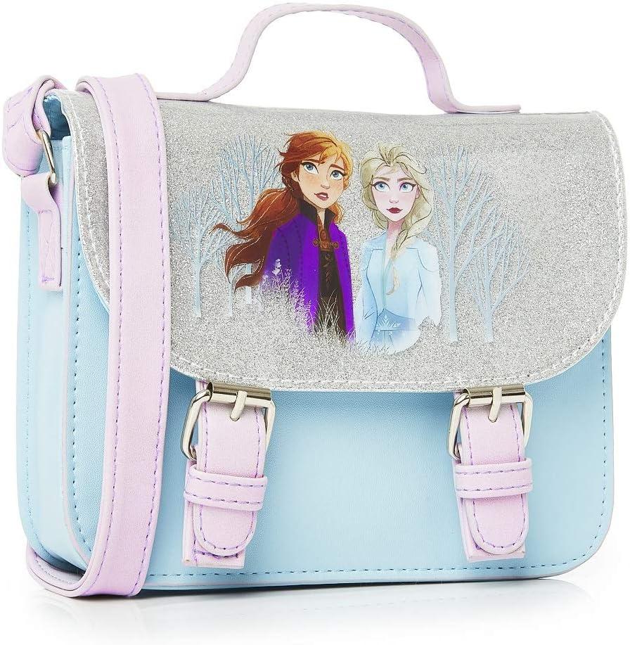 Disney Frozen 2 Bolso Pequeño para Niñas con Elsa y Anna de Reino de Hielo, Accesorios Frozen Niña, Bolso Bandolera Frozen Niña Azul Brillante, Regalos Navidad y Cumpleaños para Niños