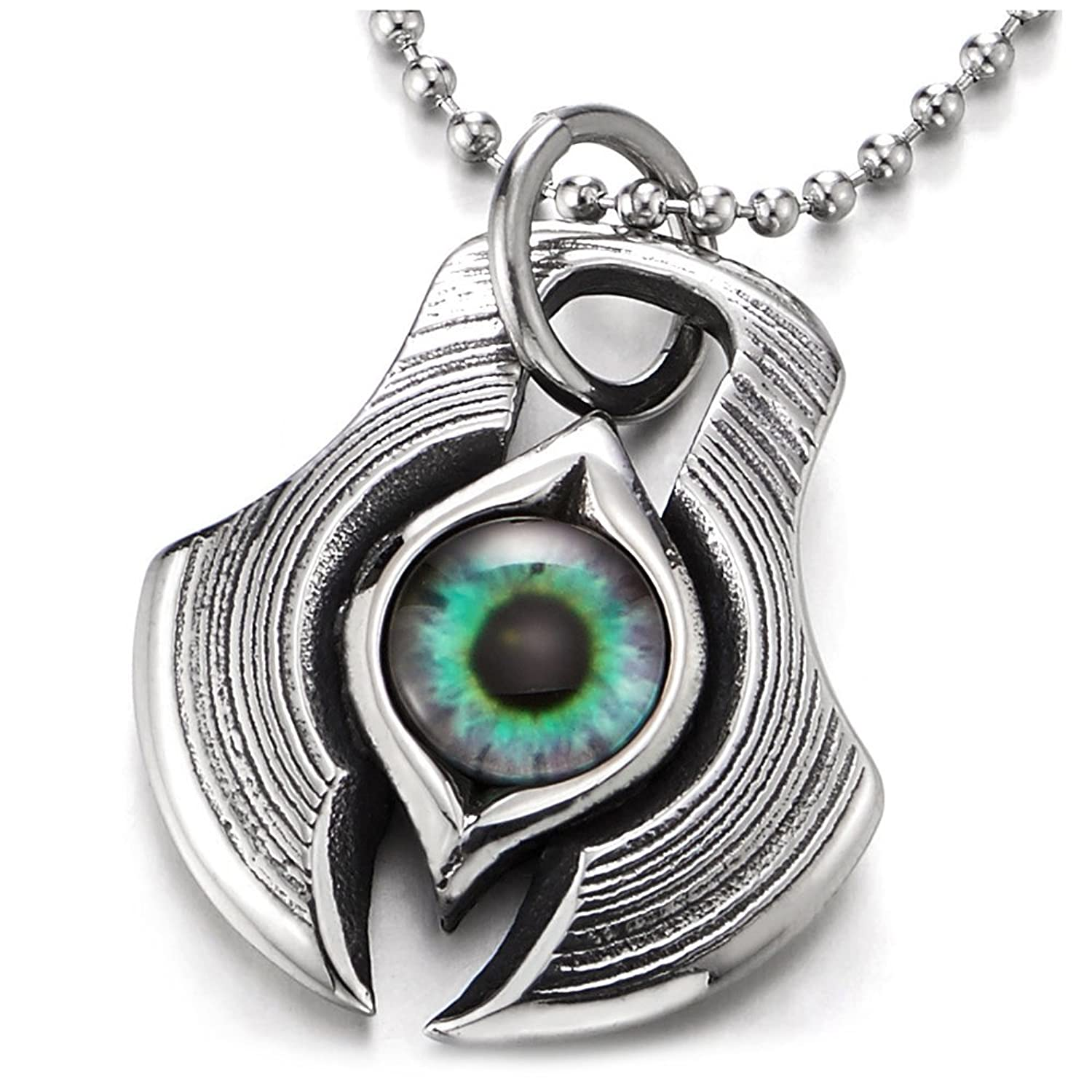 Stainless Steel Protection Evil Eye Axe Dog Tag Pendant Necklace for Men with 30 inches Ball Chain