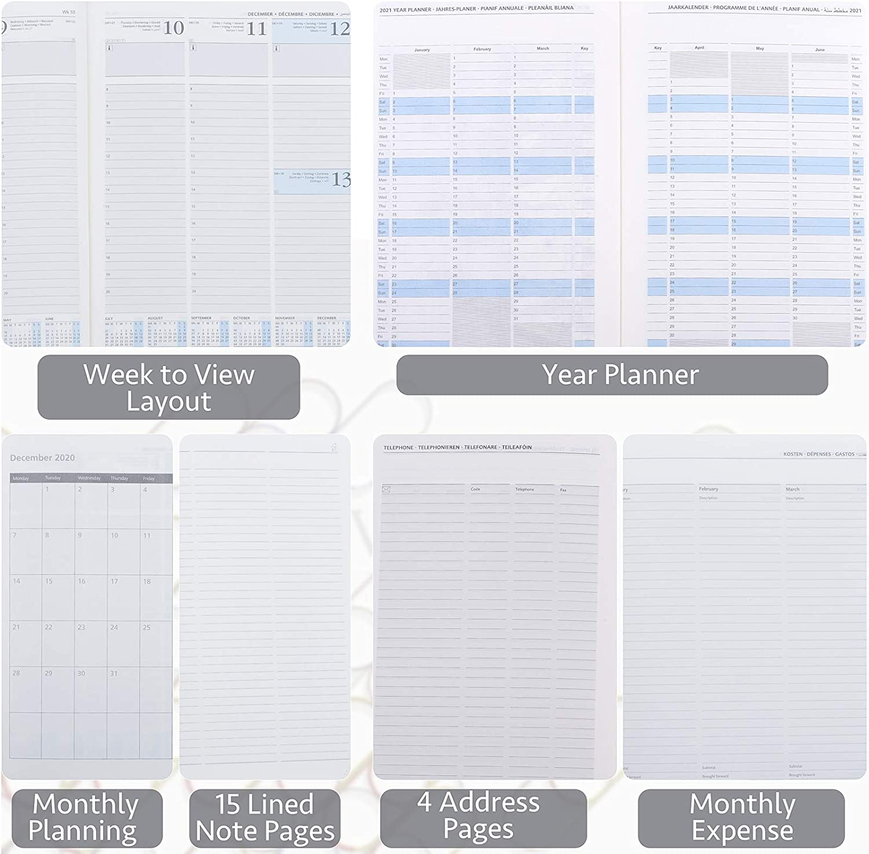 Agenda 2021 Settimanale Tascabile ca Formato Pocket 9 x 14 cm A6 Copertina Rigida in Pelle Vegana Verde Pianificatore 2021 con Pagine di Note e Rubrica