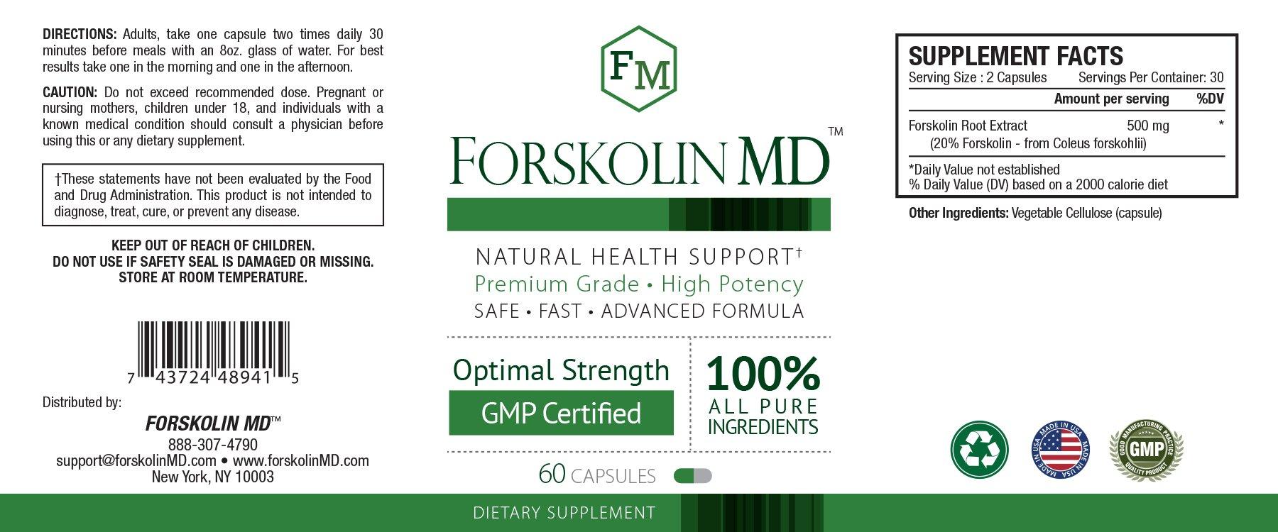 Forskolin MD - 3 Bottles by Approved Science (Image #2)