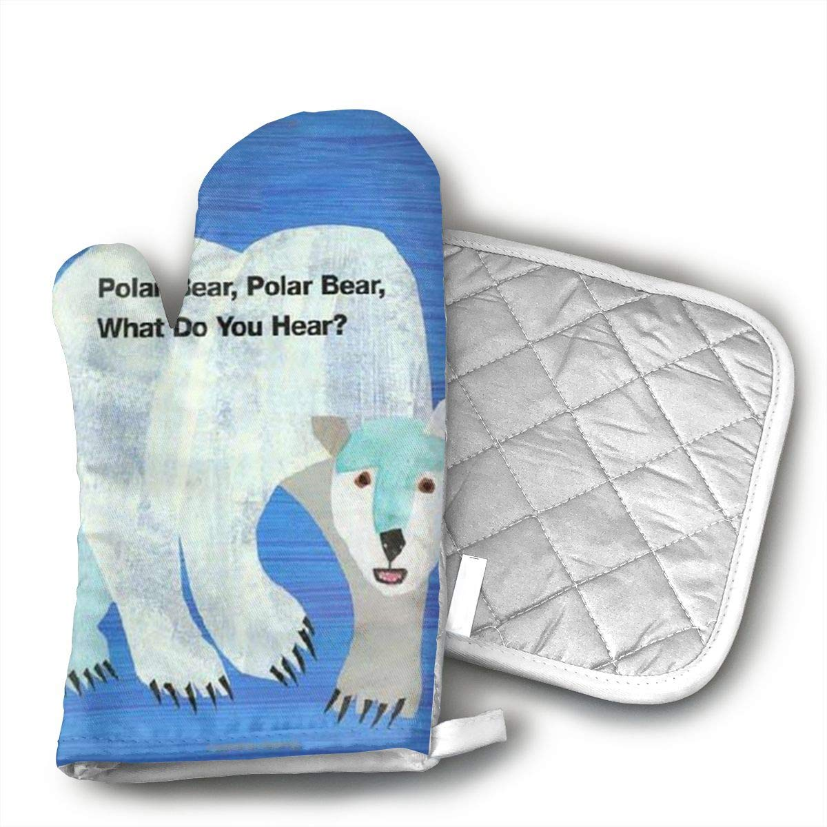 Polar Bear What Do You Hear Oven Mitt And Pot Holder Or Gloves 100 Cotton High Heat Resistance Home Kitchen