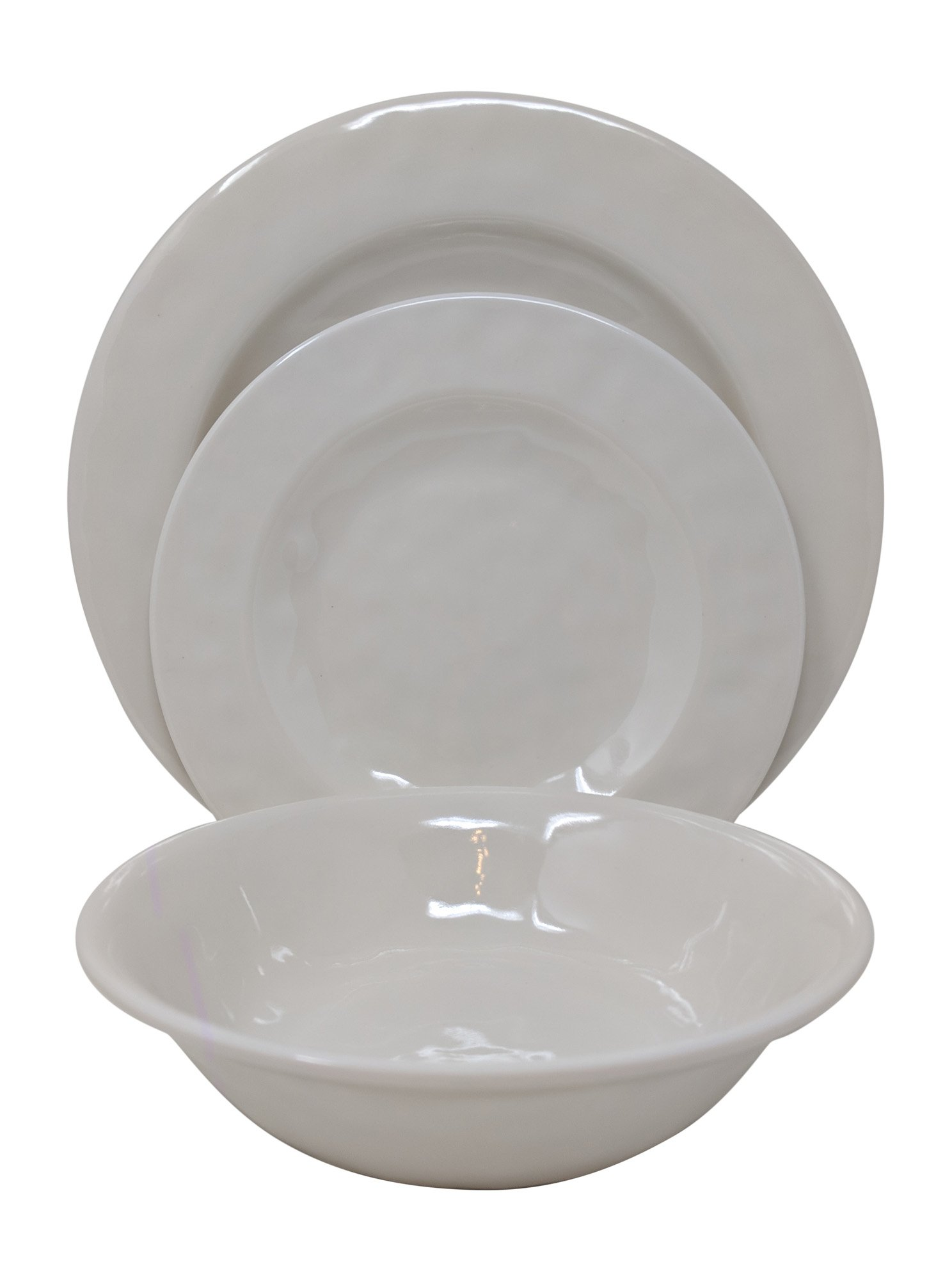 Gianna's Home 12 Piece Rustic Farmhouse Melamine Dinnerware Set, Service for 4 (Solid Ivory)
