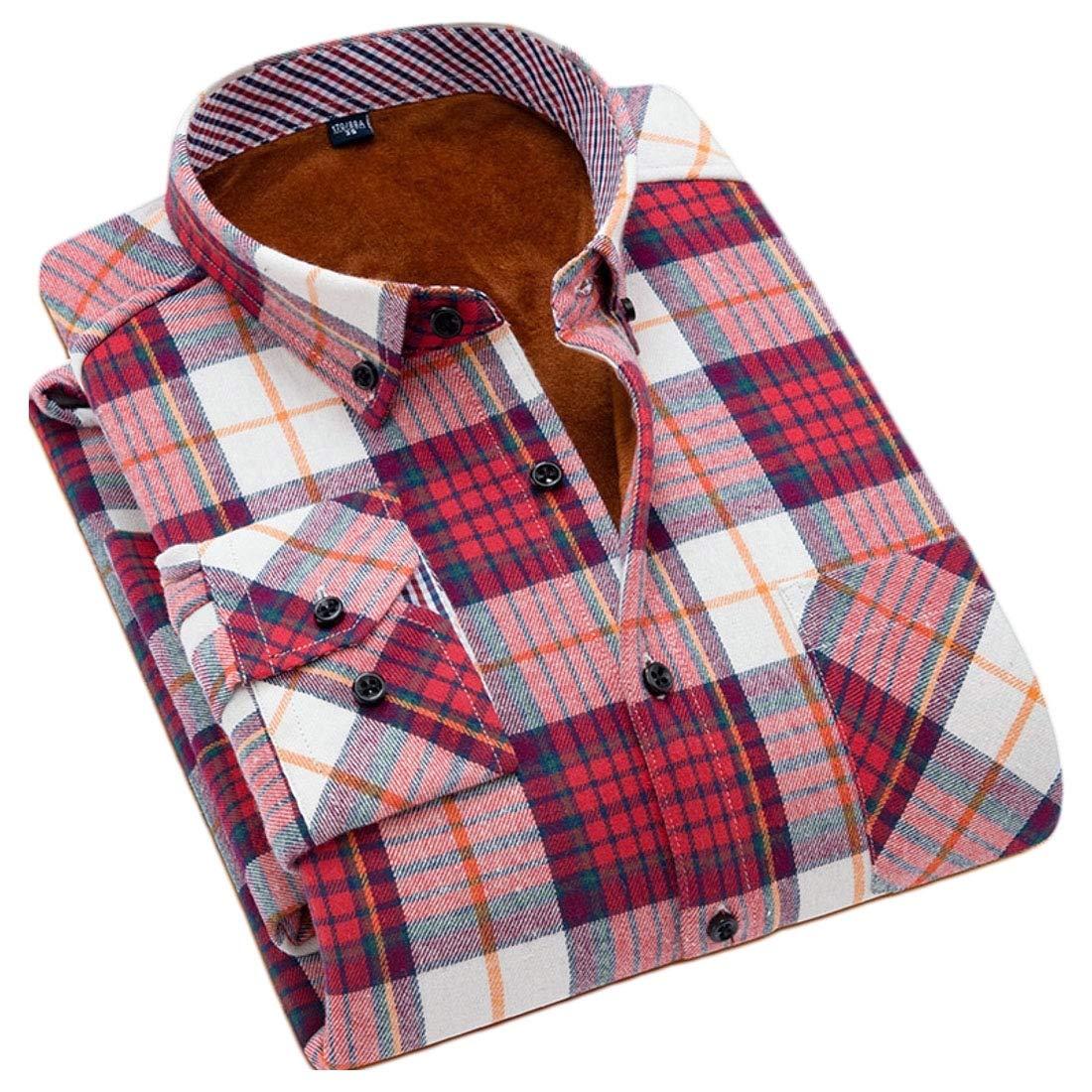 YYG Men Fleece Long Sleeve Button Down Thicker Thermal Dress Checkered Shirt