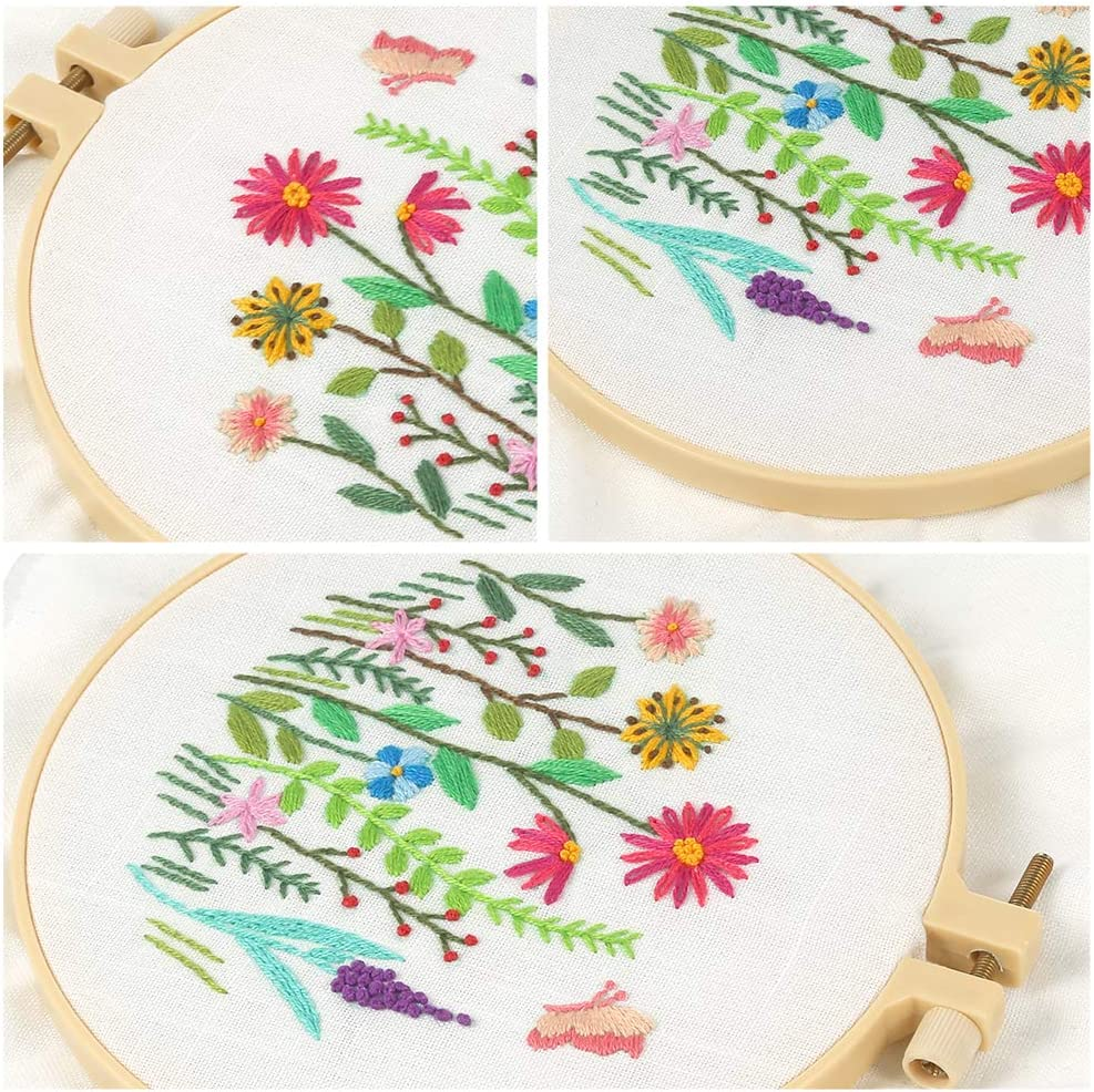 Color Threads and Tools Caydo Full Range of Embroidery Starter Kit with Pattern and Instructions 1 Plastic Embroidery Hoops Cross Stitch Kit Include 1 Embroidery Clothes with Floral Pattern