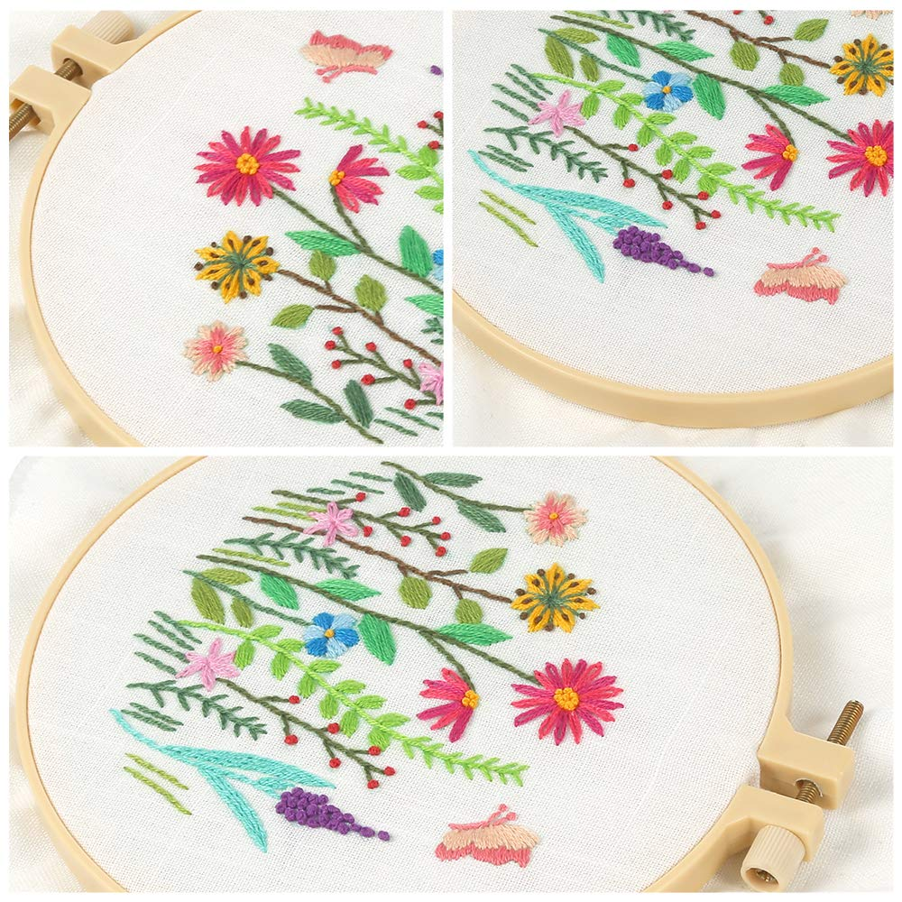 Pllieay Full Range Embroidery Starter Kit with Pattern and Instructions Color Threads and Tools Plastic Embroidery Hoops Blue Embroidery Clothes with Floral Pattern