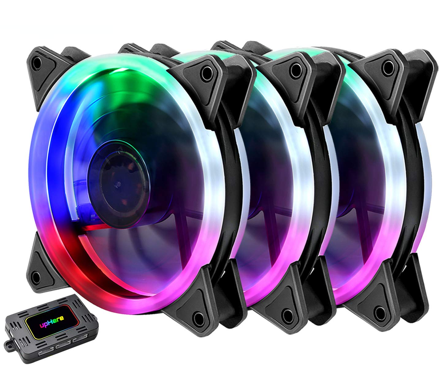 upHere 3-Pack Wireless RGB LED 120mm Case Fan,Quiet Edition High Airflow Adjustable Color LED Case Fan for PC Cases, CPU Coolers,Radiators system by upHere (Image #1)