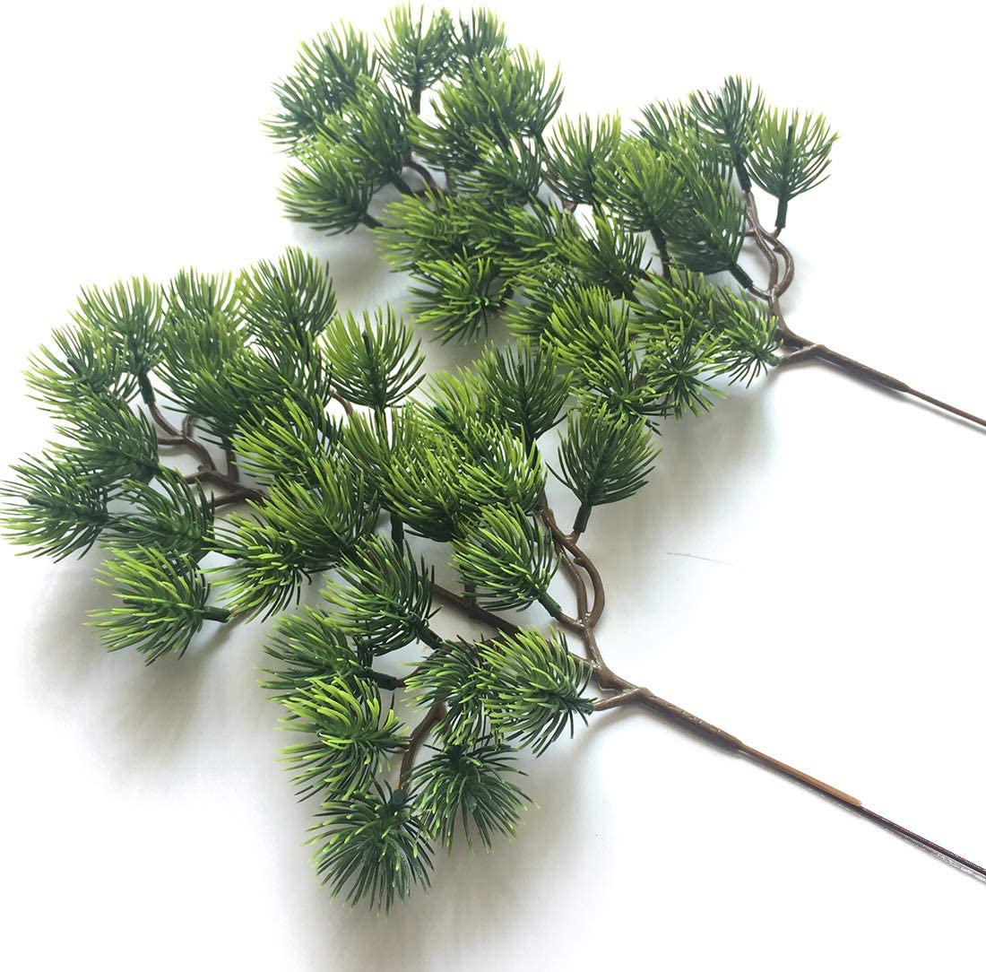 Artfen 2pcs Artificial Pine Branches Plastic Pine Branch Accessories for Christmas DIY Craft Office Home Events Decor