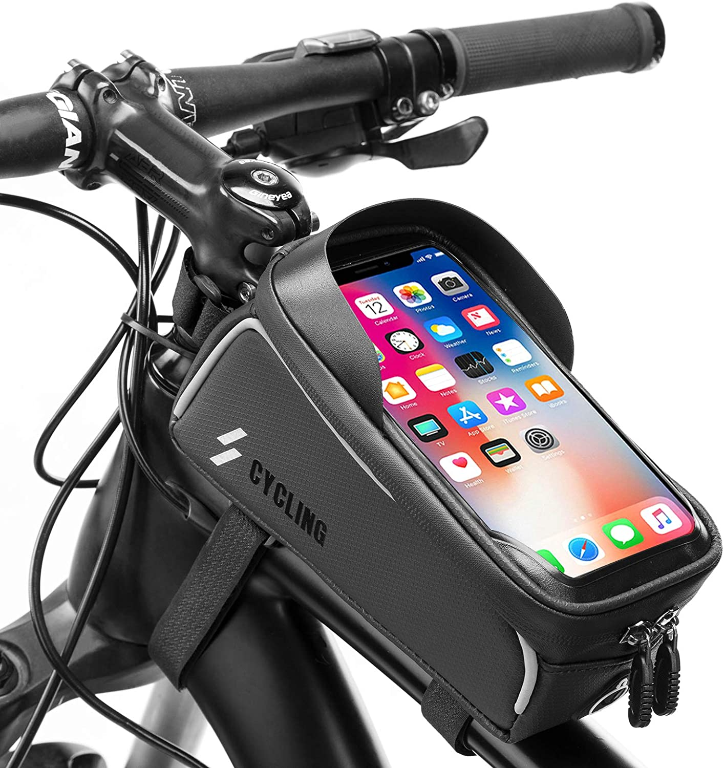 ROCKBROS Bike Front Frame Bag Waterproof Bike Phone Bag Top Tube Bag Touchscreen Sun Visor Large Capacity Bike Phone Case Compatible with iPhone 11 Pro Max/XR/XS Max 7/8 Plus