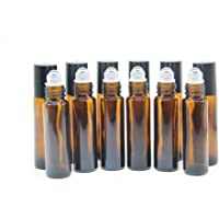 Yizhao Essentiële olie 10ml bruine glazen rolflessen, lege olie roller bal glazen fles voor etherische olie, massage…