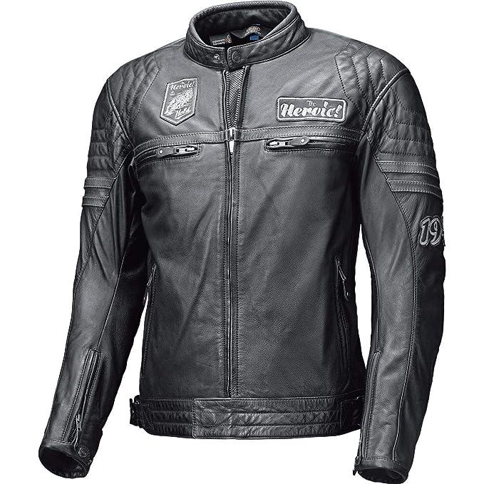 Details zu Held Stone Retro Motorrad Lederjacke Größe: 52 Motorradjacke Schwarz Orange