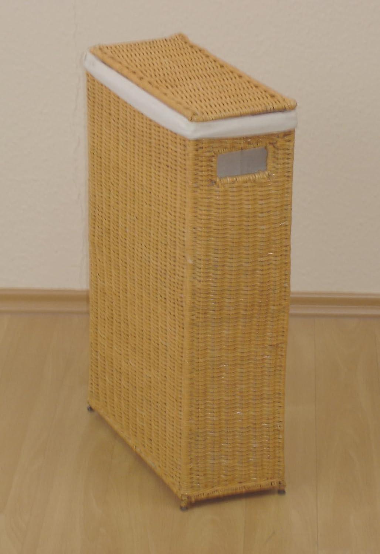 Iovivo Raumspar Wäschekorb aus Rattan handgeflochten beige lackiert